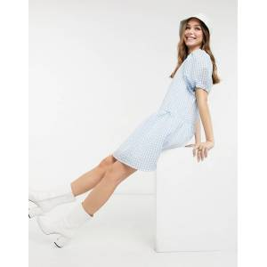 Pieces Marzipan puff sleeve smock dress in lichen blue  - Blue - Size: Large