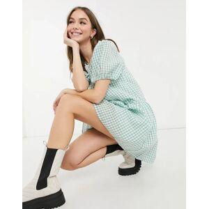 Pieces Marzipan puff sleeve smock dress in sage-Green  - Green - Size: Medium