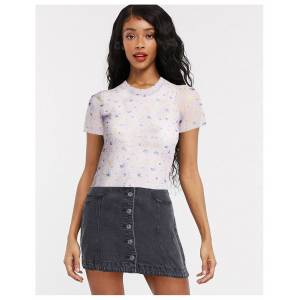 Pieces mesh t-shirt in pink floral-Purple  - Purple - Size: Extra Small