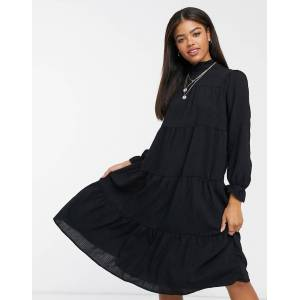 Pieces midi dress with high neck and tiered skirt in black  - Black - Size: Extra Large