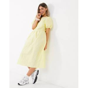 Pieces midi smock dress in taffeta with puff sleeves in yellow  - Yellow - Size: Extra Small