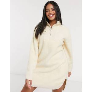Pieces mini borg dress with half zip in cream  - Cream - Size: Extra Small