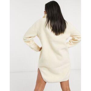 Pieces mini borg dress with half zip in cream  - Cream - Size: Large