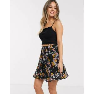 Pieces Nanna floral skater skirt-Black  - Black - Size: Small