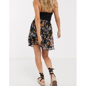 Pieces Nanna floral skater skirt-Black  - Black - Size: Large