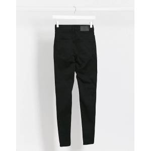 Pieces nora high waisted skinny jeans in black  - Black - Size: Large