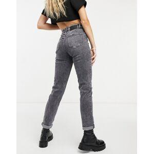 Pieces organic cotton blend slim leg Mom jeans in washed grey  - Grey - Size: Medium