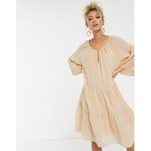 Pieces oversized smock dress in beige linen  - Beige - Size: Large