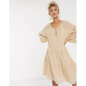 Pieces oversized smock dress in beige linen  - Beige - Size: Large