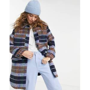 Pieces oversized wool shacket in blue check-Multi  - Multi - Size: Small