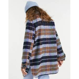Pieces oversized wool shacket in blue check-Multi  - Multi - Size: Large