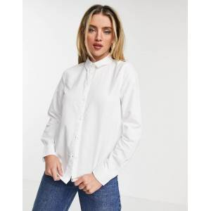 Pieces oxford shirt in white  - White - Size: Small
