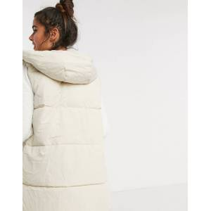 Pieces padded gilet in cream  - Cream - Size: Extra Small