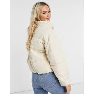 Pieces padded jacket in cream  - Cream - Size: Medium
