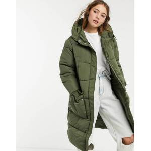 Pieces padded longline coat in khaki-Green  - Green - Size: Extra Small