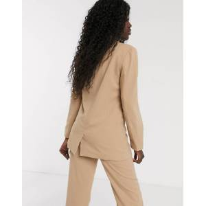 Pieces pinstripe double breasted blazer-Tan  - Tan - Size: Extra Large