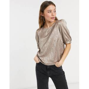 Pieces plisse puff sleeve top in taupe-Grey  - Grey - Size: Small