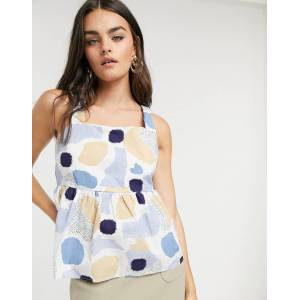 Pieces polka dot top with tie back-Multi  - Multi - Size: Medium