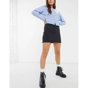 Pieces raw edge denim mini skirt in black  - Black - Size: Medium
