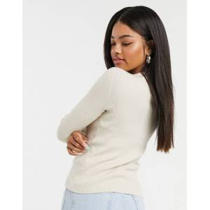 Pieces ribbed jumper in cream  - Cream - Size: Extra Large