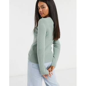 Pieces ribbed jumper in light green  - Green - Size: Small