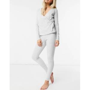 Pieces ribbed lounge leggings co-ord in light grey  - Grey - Size: Small