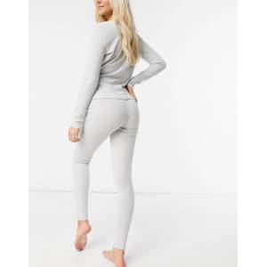 Pieces ribbed lounge leggings co-ord in light grey  - Grey - Size: Large
