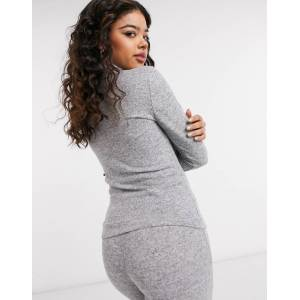 Pieces roll neck jumper co-ord in light grey  - Grey - Size: Medium