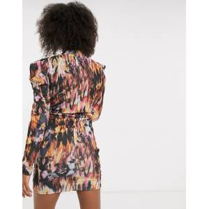 Pieces ruched mini dress with drape detail and puff sleeves in abstract print-Multi  - Multi - Size: Large