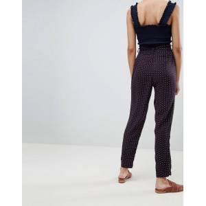 Pieces Sanika Tie Waist Trousers-Navy  - Navy - Size: Large