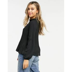 Pieces saxoin long sleeve plisse top in black  - Black - Size: Large