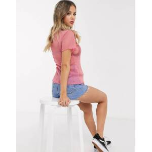 Pieces sheer sparkly t shirt in pink  - Pink - Size: Extra Small