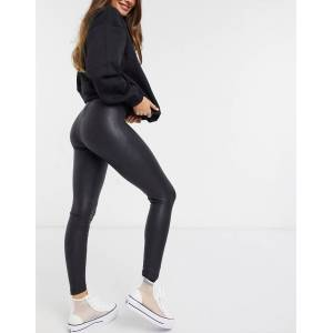 Pieces shiny leather look leggings in black  - Black - Size: Extra Small