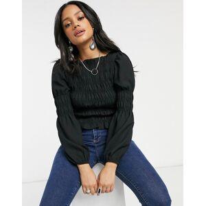 Pieces shirred blouse in black  - Black - Size: Medium
