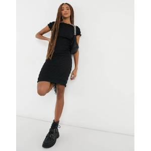 Pieces shirred mini dress in black  - Black - Size: Extra Small