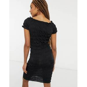 Pieces shirred mini dress in black  - Black - Size: Large