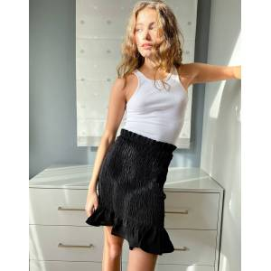 Pieces shirred mini skirt with frill hem in black  - Black - Size: Large