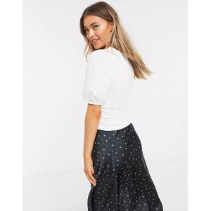 Pieces shirred top with puff sleeves in white  - White - Size: Extra Small