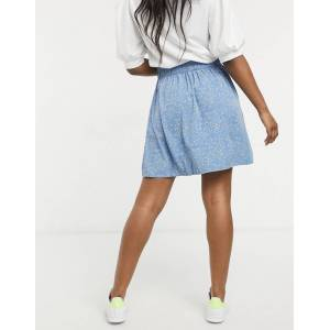 Pieces shirred waist skater skirt with abstract polka print in blue  - Blue - Size: Extra Small
