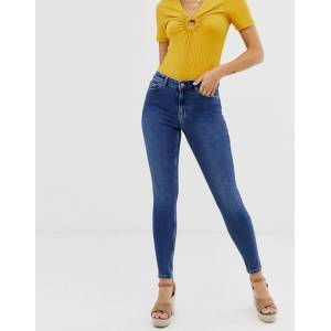 Pieces skinny jeans with high waist in medium blue denim  - Blue - Size: Extra Large