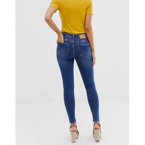 Pieces skinny jeans with high waist in medium blue denim  - Blue - Size: Extra Small