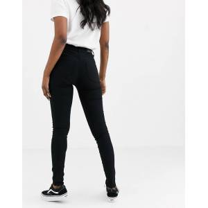 Pieces skinny jeggings with high waist in black  - Black - Size: Medium