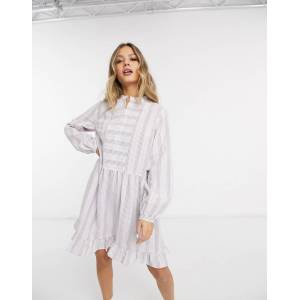 Pieces smock dress with notch detail in pastel stripes-Multi  - Multi - Size: Extra Small