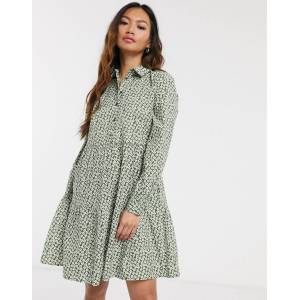 Pieces smock shirt mini dress in ditsy floral print-Multi  - Multi - Size: Small