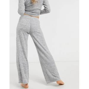 Pieces soft touch lounge wear knitted trousers co ord in grey  - Grey - Size: Large