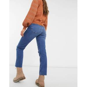 Pieces straight leg jean in medium blue denim  - Blue - Size: Extra Small