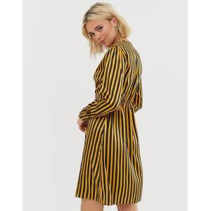 Pieces stripe wrap dress-Gold  - Gold - Size: Extra Small