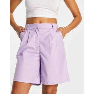 Pieces tailored longline shorts co ord in lilac-Purple  - Purple - Size: Medium