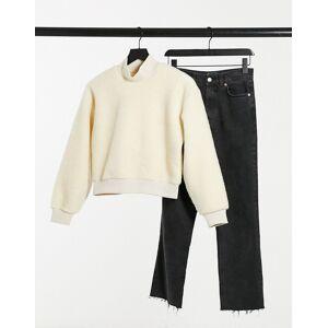 Pieces teddy sweatshirt in cream  - Cream - Size: Extra Small