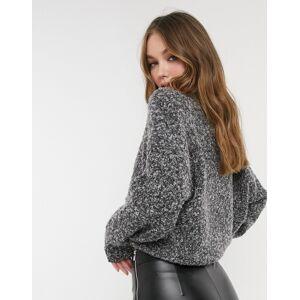 Pieces textured jumper in dark grey melange  - Grey - Size: Extra Small